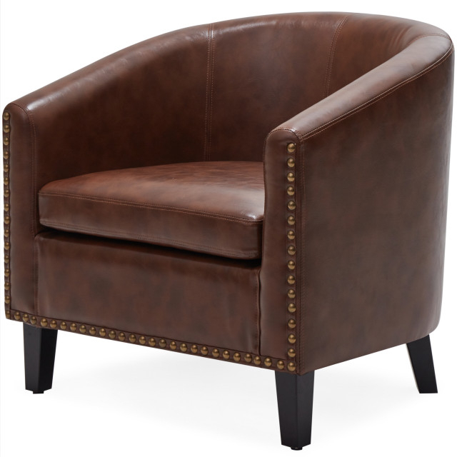 Faux Leather Barrel Chairs Pertaining To Most Current Tub Barrel Accent Chair Faux Leather, Brown (View 7 of 30)