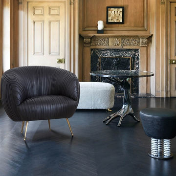 Faux Leather Barrel Chairs Regarding 2019 Modern Stylish Black Faux Leather Barrel Chair & Pleated Tub (View 25 of 30)