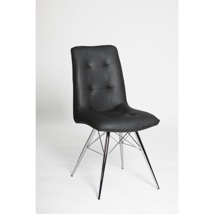 """Faux Leather Dining Chairs With Chrome Legs Grey, Ochre Or Orange (sold In Pairs Only) """"bay Chair Colours : Grey"""" In Newest Trent Side Chairs (View 18 of 30)"""