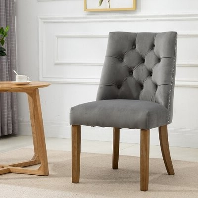 Favorite Alwillie Tufted Back Barrel Chairs With Brodench Tufted Dining Chair Upholstery Color: Light Gray (View 12 of 30)
