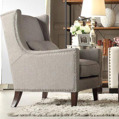 Favorite Andover Mills Oneill Wingback Chair Upholstery: Gray Inside Andover Wingback Chairs (View 16 of 30)