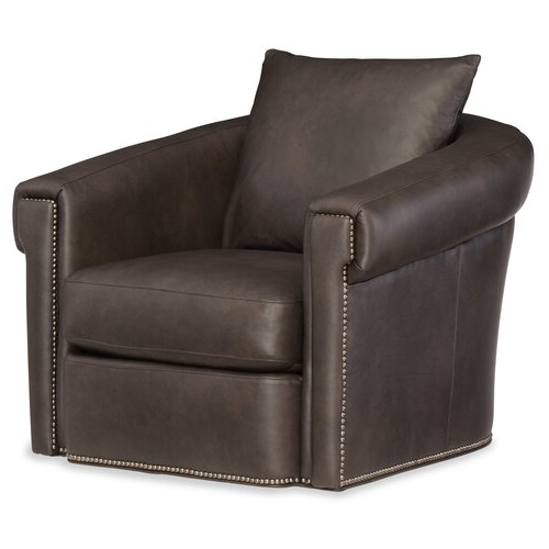 """Favorite Andre 35"""" W Genuine Leather Swivel Down Cushion Armchair Within Young Armchairs By Birch Lane (View 29 of 30)"""