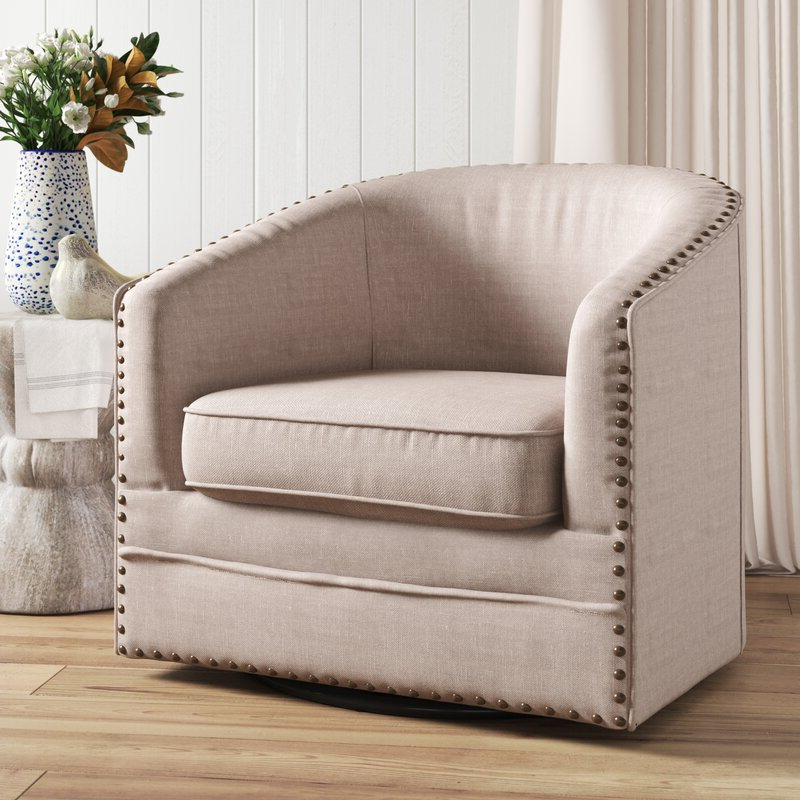Favorite Aviva Swivel Barrel Chair Intended For Danow Polyester Barrel Chairs (View 12 of 30)