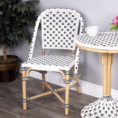Favorite Bettie Upholstered Side Chair In White/black Within Aime Upholstered Parsons Chairs In Beige (View 13 of 30)