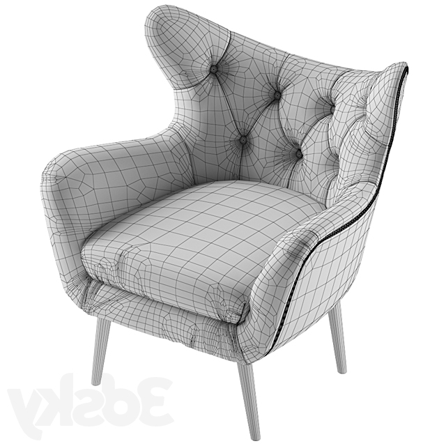 Favorite Bouck Wingback Chairs Regarding 3d Models: Arm Chair – Bouck Wingback Chair (View 18 of 30)