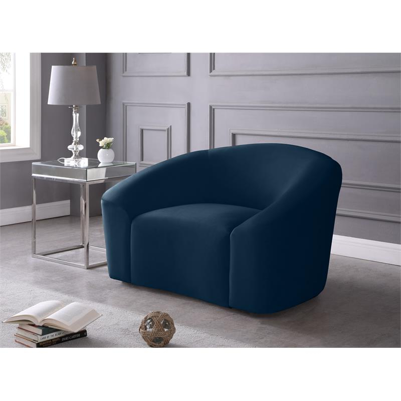 Favorite Harmon Cloud Barrel Chairs And Ottoman Regarding Meridian Furniture Riley Contemporary Curved Velvet Upholstered Accent Chair (View 14 of 30)