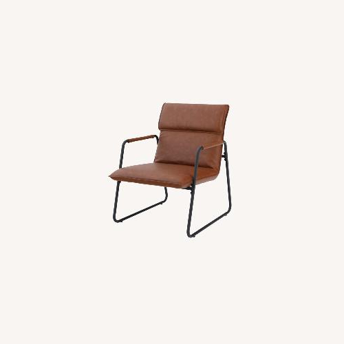 Favorite Jarin Faux Leather Armchairs With Regard To Wayfair Cognac Faux Leather – Solid Wood – Aptdeco (View 15 of 30)
