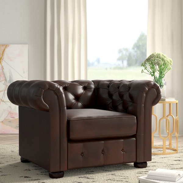 Favorite Minnie Chesterfield Chair In Marisa Faux Leather Wingback Chairs (View 12 of 30)