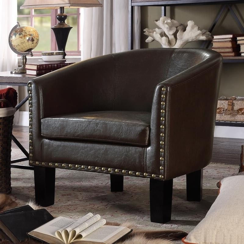 Favorite Moser Bay Furniture Isabela Faux Leather Barrel Club Chair Intended For Faux Leather Barrel Chairs (View 8 of 30)