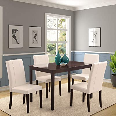 Favorite Rhomtree 5 Pieces Dining Set Home Kitchen Table And Chairs Wood Home Dining Room In Aime Upholstered Parsons Chairs In Beige (View 27 of 30)