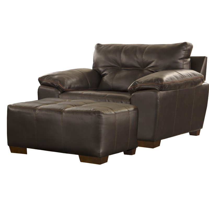 "Favorite Scalli 61"" W Faux Leather Club Chair And Ottoman Throughout Faux Leather Barrel Chair And Ottoman Sets (View 20 of 30)"