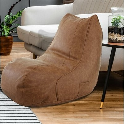Favorite Small Faux Leather Bean Bag Chair & Lounger Upholstery Color: Cognac Faux Leather Inside Jarin Faux Leather Armchairs (View 12 of 30)