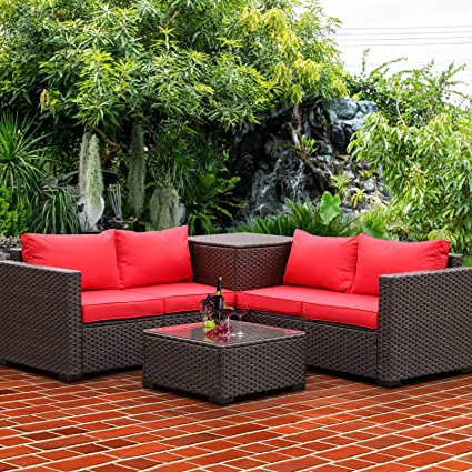 Favorite Valita Patio Pe Wicker Furniture Set 4 Pieces Outdoor Brown Rattan Sectional Conversation Sofa Chair With Storage Box Table And Red Cushions In Harmon Cloud Barrel Chairs And Ottoman (View 22 of 30)
