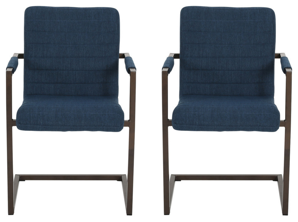 Filton Barrel Chairs In Famous Lilith Modern Fabric Arm Chair, Set Of 2, Navy Blue/bronze (View 19 of 30)