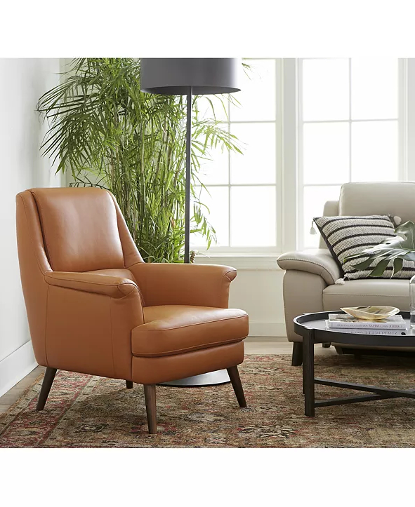 Furniture Milany Leather Accent Chair, Created For Macy's For Newest Marisa Faux Leather Wingback Chairs (View 15 of 30)