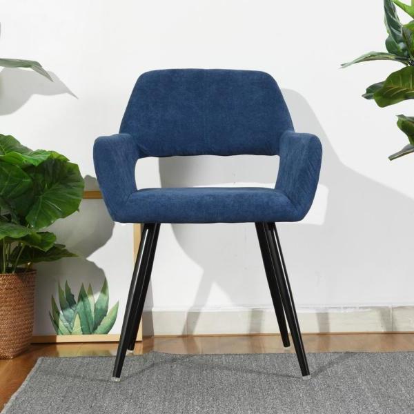 Furniturer Cromwell Blue Fabric Upholstered Hollow Design Inside 2019 Daulton Velvet Side Chairs (View 16 of 30)
