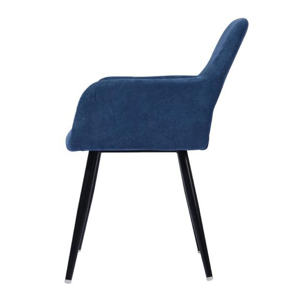 Furniturer Cromwell Blue Fabric Upholstered Hollow Design Intended For Fashionable Daulton Velvet Side Chairs (View 21 of 30)