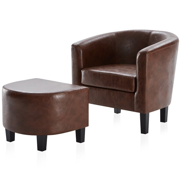 Gilad Faux Leather Barrel Chairs Pertaining To Well Known Caramel Leather Accent Chair (View 4 of 30)