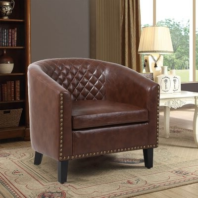 Gilad Faux Leather Barrel Chairs Throughout Favorite Armonta (View 3 of 30)