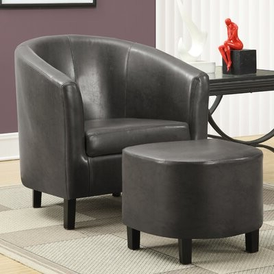 """Gilad Faux Leather Barrel Chairs Within 2020 Karah 29"""" W Faux Leather Barrel Chair And Ottoman (View 14 of 30)"""