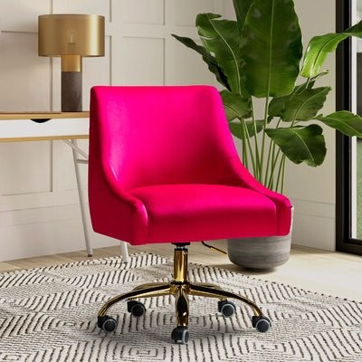 Gowen Velvet Task Chair Upholstery Color: Purple Red With Well Liked Erasmus Velvet Side Chairs (set Of 2) (View 18 of 30)