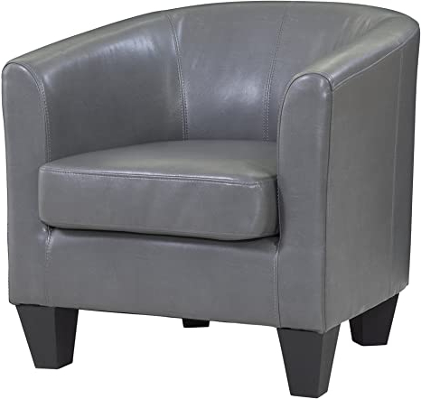 Grafton Leather Barrel Chair, One Size, Grey Intended For Newest Faux Leather Barrel Chairs (View 16 of 30)