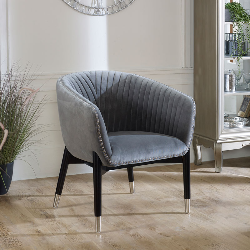 Grey Velvet Tub Chair With Most Recently Released Dorcaster Barrel Chairs (View 24 of 30)