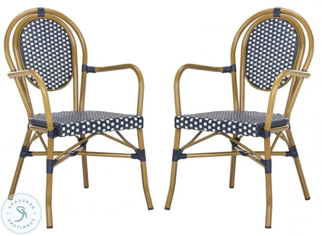 Haleigh Armchairs For Famous Rosen Navy And White French Outdoor Bistro Arm Chair Set Of (View 30 of 30)