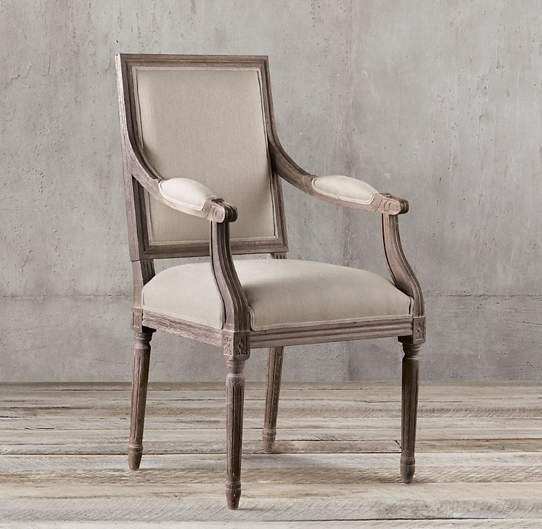Haleigh Armchairs Inside Popular Vintage French Square Back Fabric Armchair In (View 29 of 30)