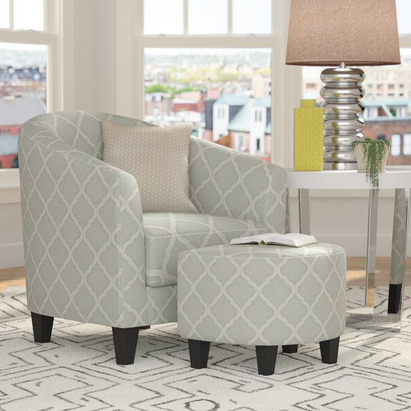 """Hallsville Performance Velvet Armchairs And Ottoman For Fashionable Northdale 20"""" Barrel Chair And Ottoman (View 20 of 30)"""