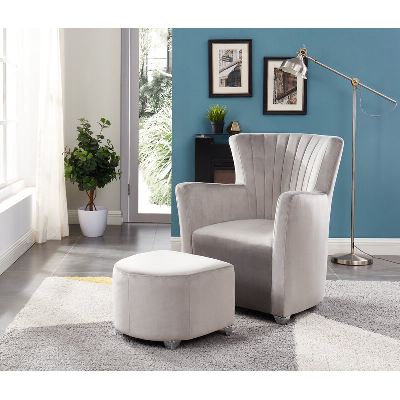 Hallsville Performance Velvet Armchairs And Ottoman Inside Fashionable Ryanne Club Chair And Ottoman (View 14 of 30)