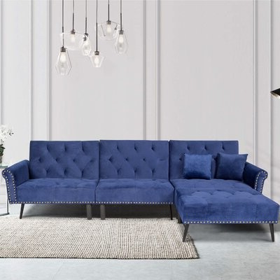 Hallsville Performance Velvet Armchairs And Ottoman Inside Well Known Verasha 114'' Wide Microfiber/microsuede Reversible Sofa & Chaise With Ottoman Fabric: Navy Blue Microfiber/microsuede (View 22 of 30)