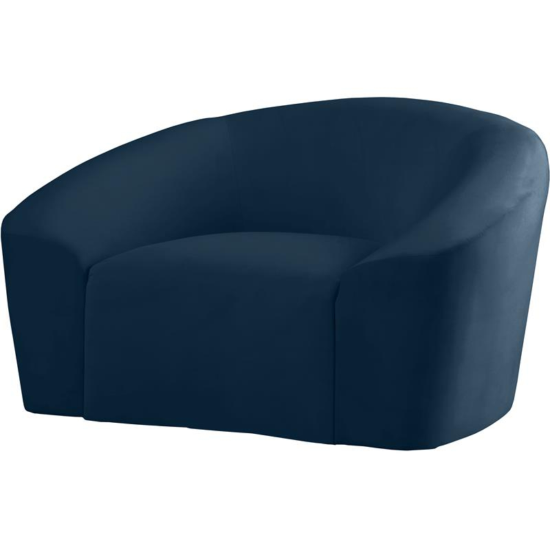 Harmon Cloud Barrel Chairs And Ottoman For Popular Meridian Furniture Riley Contemporary Curved Velvet Upholstered Accent Chair (View 17 of 30)