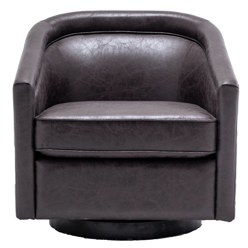 Hazley Barrel Swivel Chair With Regard To Most Popular Hazley Faux Leather Swivel Barrel Chairs (View 3 of 30)