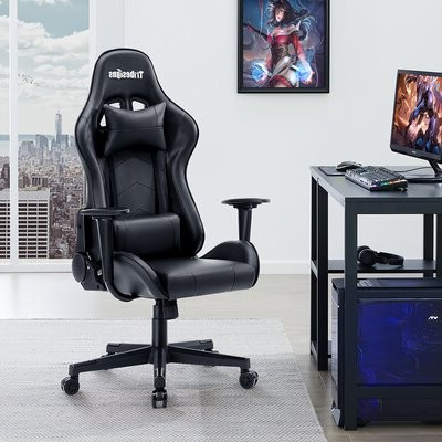 Hazley Faux Leather Swivel Barrel Chairs Intended For Most Current Tribesigns Reclining Ergonomic Faux Leather Swiveling Pc & Racing Gaming Chair In Black Tribesigns (View 10 of 30)