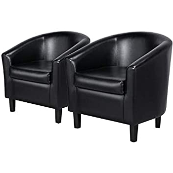 Hazley Faux Leather Swivel Barrel Chairs Throughout Current Yaheetech Accent Chairs Set Of 2 Faux Leather Barrel Chair Side Chairs Club Chair For Bedroom Living Reading Room, Black (View 5 of 30)