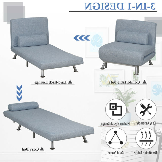 Homcom Folding 5 Position Steel Convertible Sleeper Bed Sofa Chair Lounge Blue Throughout Well Liked New London Convertible Chairs (View 24 of 30)