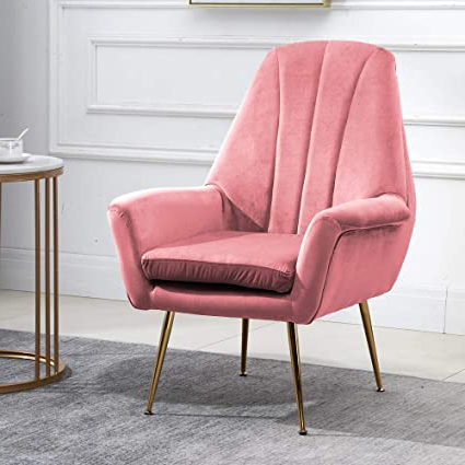 Huisen Furniture Occasional Living Room Single Sofa Armchair Tub Chair Pink With Velvet Upholstered Seat And Metal Legs, Modern Home Office Decor Within Newest Pitts Armchairs (View 22 of 30)