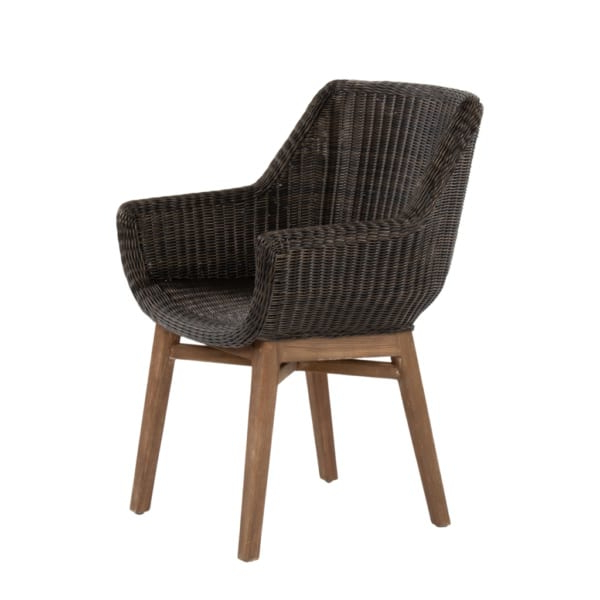 James Armchairs Regarding Fashionable James Outdoor Wicker And Reclaimed Teak Dining Armchair (View 8 of 30)