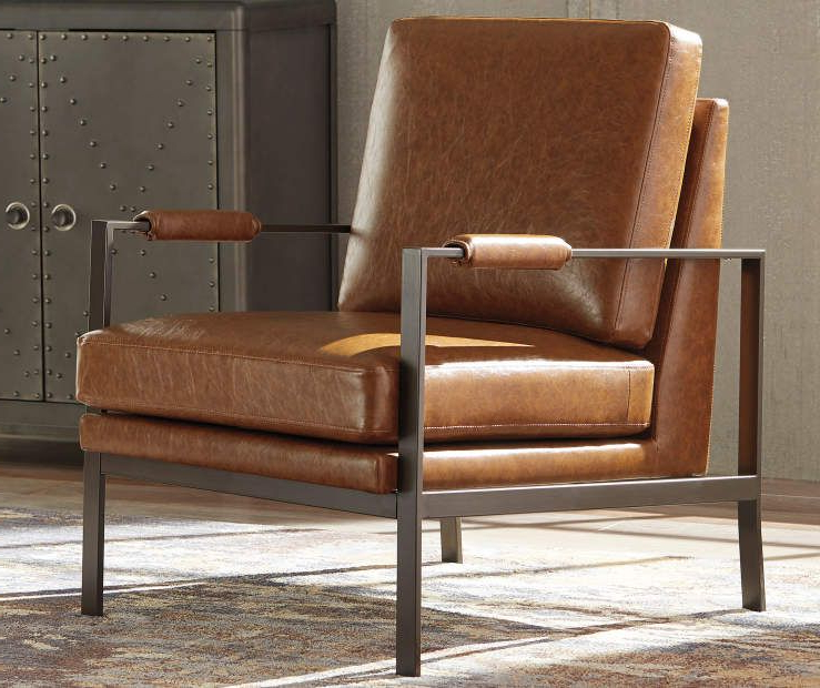 Jarin Faux Leather Armchairs With Recent Signature Designashley Peacemaker Brown Faux Leather (View 11 of 30)