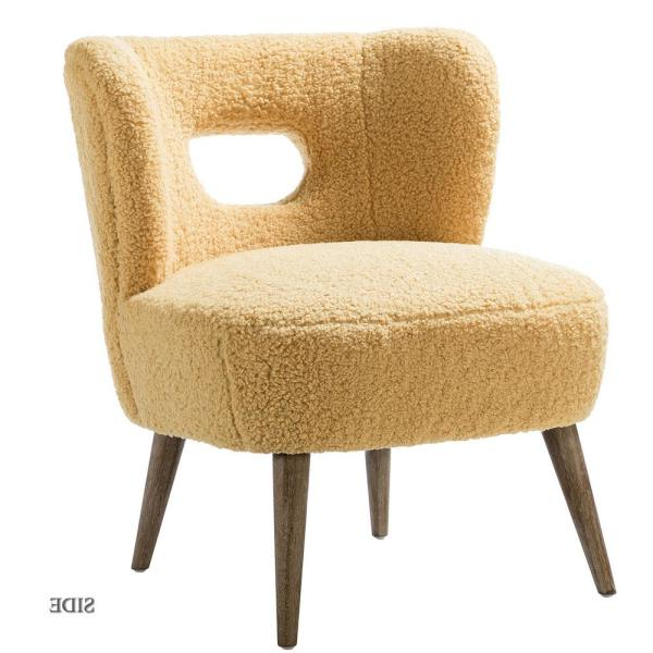 Jayden Creation Mini Mustard Vegan Lambskin Sherpa Within Popular Danow Polyester Barrel Chairs (View 24 of 30)