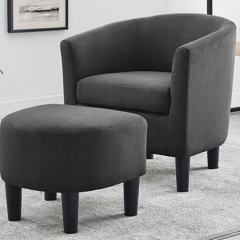 Jazouli Linen Barrel Chair And Ottoman (View 7 of 30)