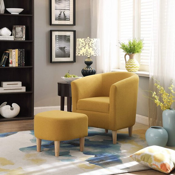 Jazouli Linen Barrel Chairs And Ottoman Pertaining To Most Popular Red Chair With Ottoman (View 13 of 30)