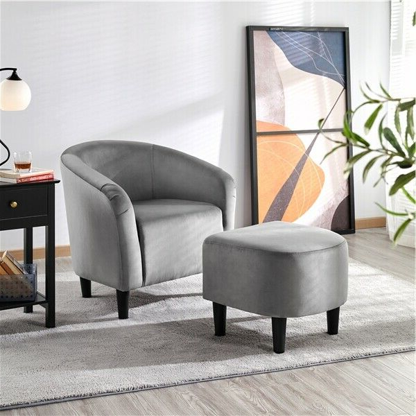 Jazouli Linen Barrel Chairs And Ottoman Throughout Best And Newest Upholstered Club Chair And Ottoman Set Accent Armchair With Ottoman (View 29 of 30)