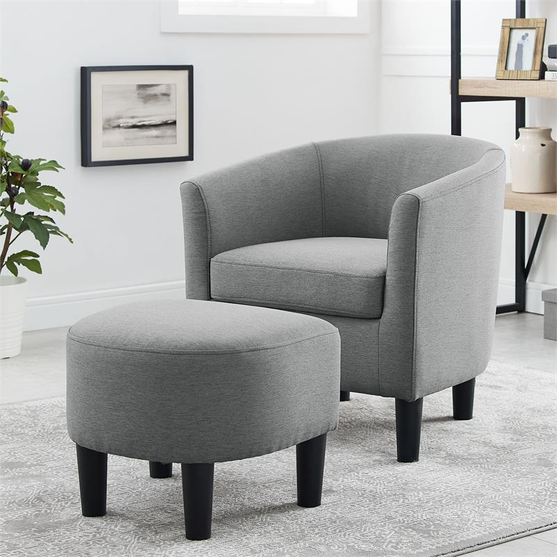 Jazouli Linen Barrel Chairs And Ottoman With Best And Newest Yl Grand Jazouli Wood And Microfiber Barrel Accent Chair And Ottoman Gray (View 12 of 30)