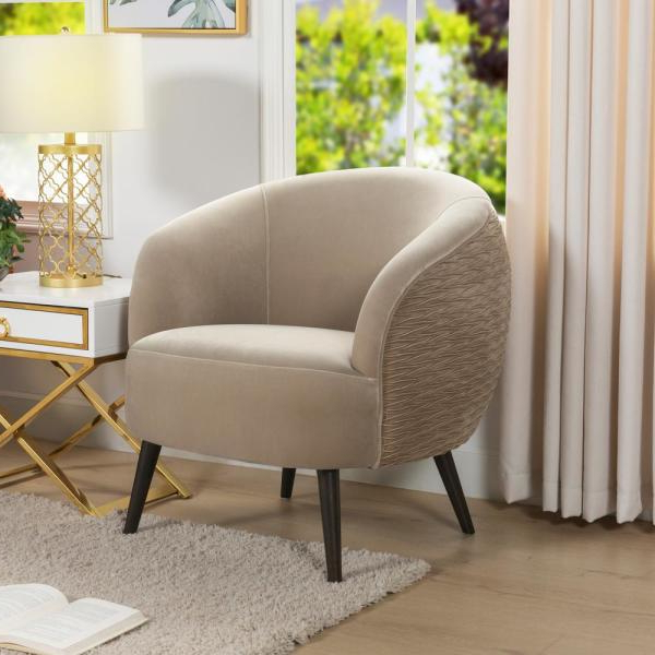 Jennifer Taylor London Mid Century Modern Ruched Barrel In Famous Danow Polyester Barrel Chairs (View 13 of 30)