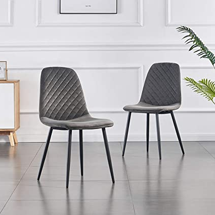 Jymtom Dining Chairs Set Of 2 4 Velvet Fabric Seat With Metal Legs Backrest Office Lounge Chair Home Furniture,grey 2pc With Regard To Popular Lounge Chairs With Metal Leg (View 21 of 30)