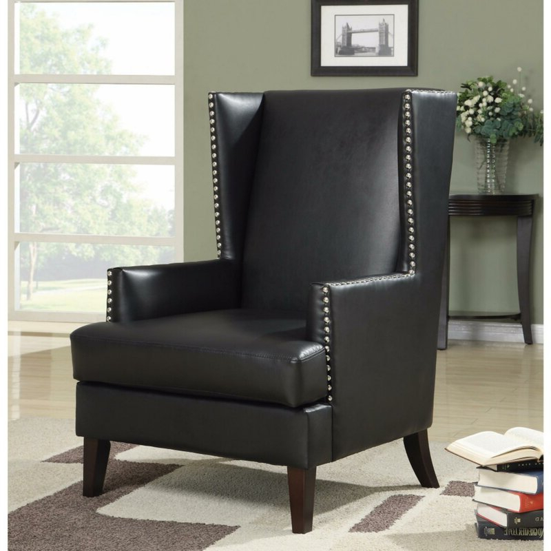 "Kephart 32"" W Faux Leather Wingback Chair Regarding Widely Used Sweetwater Wingback Chairs (View 21 of 30)"