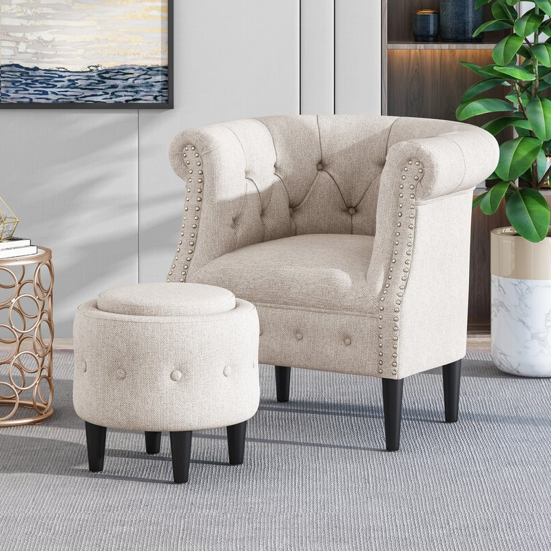 Kjellfrid Chesterfield Chairs With Well Known Starks Tufted Fabric Chesterfield Chair And Ottoman (View 13 of 30)