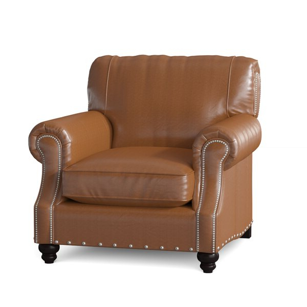 Landry Leather Chair In Popular Ansar Faux Leather Barrel Chairs (View 12 of 30)